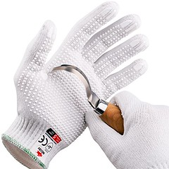 NoCry Cut Resistant Protective Work Gloves with Rubber Grip Dots. Tough and Durable Stainless Steel Materials, EN388 Licensed. 1 Pair. White, Size Large - DiZiWoods Store (diziwoods) Tags: certified cut diziwoods dots durable en388 gloves grip large material nocry pair protective resistant rubber size stainless steel store tough white work