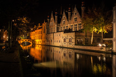 Quiet Night in Bruges (Gilderic Photography) Tags: bruges belgium belgique belgie brugge night canal water reflection city travel architecture building bridge tree silence alone solitude canon 500d