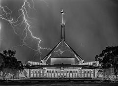 Parliament House (Theresa Hall (teniche)) Tags: australia australia2018 canberra lightning nikond750 parliamenthouse tamron70200 teniche theresahall longexposure storm ca