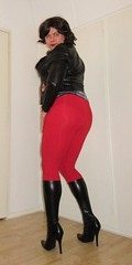 jacket and boots outfit with red leggings viewed from the back (Barb78ara) Tags: leatherlook leather boots stilettoheels stilettohighheels stilettoboots highheels highheelboots tightboots leggings redleggings tightleggings jacket leatherjacket crossdresser tgirl vpl