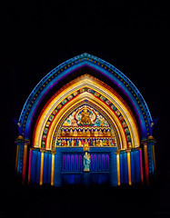 The Light of the Spirit (Riyazi) Tags: building light architecture church lighting cathedral stainedglass arch gold noperson landmark blue religion colorful travel night bright art theatre worship symmetry purple placeofworship tower window dark illuminated red darkness large city chapel top sky outdoors yellow black color ornate dome decoration lumierelondon london westminsterabeey westminster catherdral greatnorthdoor lumiere festivaloflights lightofthespirit