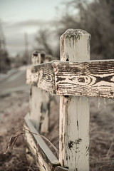 Fence Post (AndrewCline) Tags: farm fence post rural countryside country newhampshire newengland paint faded rustic agriculture winter ice wood sky cold frozen january