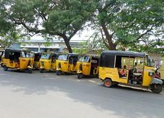 Puducherry, Tamil Nadu - Waiting Auto Rickshaws (zorro1945) Tags: autorickshaws tuetuks rickshaws taxis yellow yellowcabs puducherry pondicherry tamilnadu india asia asie