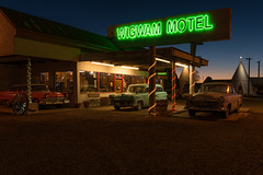 Wigwam Motel, Holbrook, AZ (Brandon Kopp) Tags: 1635mm arizona d750 night nikon sunset route66 holbrookaz holbrook az seearizona wigwammotel wigwam motel classiccar twilight neon