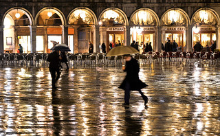 rainy night in venice