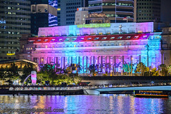 Fullerton Hotel and Merlion Projection Mapping DIsplay Dec '17 (knowenoughhappy) Tags: singapore marina bay night light skyline city cbd december 2017 dec central business district financial fullerton hotel projection mapping display new year eve 2018 bear merlion
