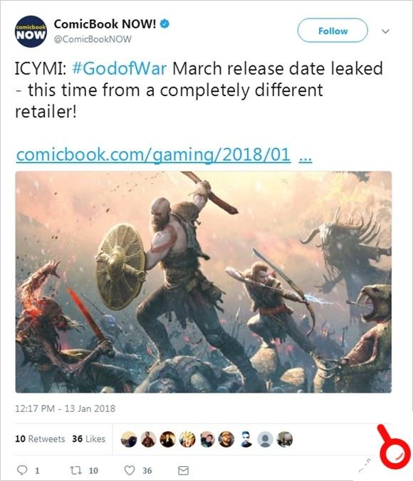 多方消息表示新《戰神》發售日期為3月22日