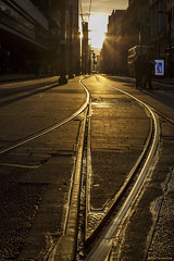The second golden era of rail (andyrousephotography) Tags: manchester mosleyst piccadilly tramlines trams metrolink peoplewatching sunset headon golden yellows shadows andyrouse canon eos 5d3 5dmkiii ef24105mmf4l