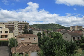 Town view from the railway, departing Cahors, France