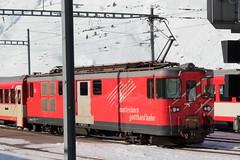 MGB Matterhorn Gotthard Bahn Gepäcktriebwagen Deh 4/4 I Nr. 52 mit Taufname Tujetsch - Sedrun ( Baujahr 1972 - Hersteller SLM SIG BBC - Ehemals Furka – Oberalp - Bahn FO - Triebwagen Schmalspur Meterspur ) am Bahnhof Andermatt im Kanton Uri der Schweiz (chrchr_75) Tags: hurni christoph januar 2018 schweiz suisse switzerland svizzera suissa swiss chrchr chrchr75 chrigu chriguhurni chirguhurnibluemailch albumbahnenderschweiz albumbahnenderschweiz20180105 schweizer bahnen bahn eisenbahn train treno zug chriguhurnibluemailch albummgbmatterhorngotthardbahn mgb albumbahnenderschweiz20180106schweizer juna zoug trainen tog tren поезд lokomotive паровоз locomotora lok lokomotiv locomotief locomotiva locomotive railway rautatie chemin de fer ferrovia 鉄道 spoorweg железнодорожный centralstation ferroviaria
