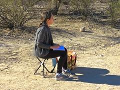 Saguaro Artist Sketching -2 (Chic Bee) Tags: trail saguaro sketch artist saraiyakanning nedharris sabinocanyon sabinocanyonvolunteernaturalists guides naturewalk 20180131 tucson arizona southwesternusa americansouthwest america nature walking