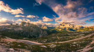 Panoramic view from Rifugio Auronzo in the morning light...