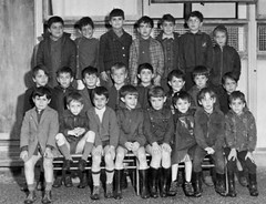 Class photo (theirhistory) Tags: children kids boys group school jacket shorts trousers shoes wellies rubberboots class form pupils students education