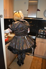Sparkly uniform 13 (sissybarbie1066) Tags: sissy maid barbie sparkly holographic sequins 247 livein sissymaid
