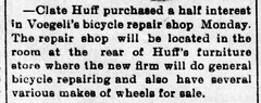 1898 - Clayton Huff buys into Voegeli bike shop - Enquirer - 4 Mar 1898