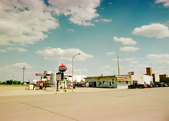 New England, North Dakota, 1998 (pony rojo) Tags: newengland northdakota new england north dakota hettinger county standard oil amaco fuel petrol station 1998 nineties blue sky clouds little fluffy