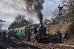 Pannier 1501 departs Ropley (daveymills37886) Tags: pannier 1501 ropley br watercress line mid hants railway