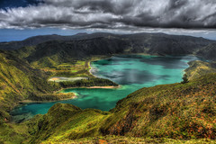 Lagoa do Fogo (Elios.k) Tags: horizontal outdoors nopeople lake lagoadofogolagoon firelagoon landscape water green forest trees nature sky blue clouds cloudy weather hills greenisland volcaniccrater crater caldera ilheverde miradourodopicodabarrosa águadepaumassif stratovolcano vistapoint viewpoint hdr highdynamicrange colour color travel travelling june2017 summer vacation canon 5dmkii photography island pontadelgada saomiguel acores azores portugal europe