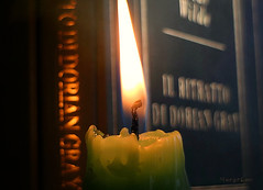Candlelight ... (MargoLuc) Tags: macromondays flame theme macro candle green book golden bokeh blue cover