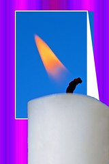 Presenting - The Flame (deanrr) Tags: photoshopelements morgancountyalabama backyardphotography sky candle macro flame colorful wick outdoor outdoorfun fire creative purple blue