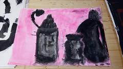 Wo wir uns gesehen haben und Sie haben uns gegrüßt (raumoberbayern) Tags: acryl acrylic stilllife stilleben naturemorte pink black schwarz noir sketchbook skizzenblock malerei painting robbbilder bottles flaschen bouteille
