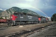 Somewhere Over the Rainbow (jamesbelmont) Tags: southernpacific emd sd45 utahrailway provo utah railway rainbow wasatchmountains