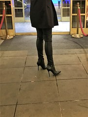 Saturday night - Rosina with friends in front of the cigar bar (Rosina's Heels) Tags: high heel leather stiletto ankle boots