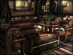 Viking Living Room Set (moonshagoreanstore) Tags: viking celtic celta dragon wood decor furniture medieval gor gorean chess bench armchair rug pic frame plant light dark sl second life moonsha moonlight shadow mesh gacha garden gimme