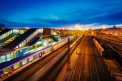 Rush at rail (Pavel Cervenka Photographer) Tags: ostrava mainstation train rushhour northmoravia winter bluehour traffic rail czech republic pavelcervenka canon eos100d efs1018 longexposure