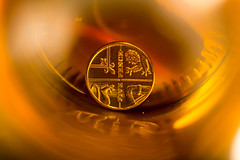 Inside a Bottle (G_HOWDEN) Tags: macromondays insideabottle coin bottle monochrome
