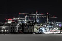 Við Reykjavíkurtjörn - At the Reykjavikpond (icecold46) Tags: pond building construction crane reykjavikpond sky snow frosenpond harpa road