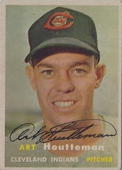 1957 Topps - Art Houtteman #385 (Pitcher) (b. 7 August 1927 - d. 6 May 2003 at age 75) - Autographed Baseball Card (Cleveland Indians) (card #1) (Treasures from the Past) Tags: 1957 topps 1957topps baseball cards baseballcard vintage auto autograph graf graph graphed sign signed signature arthoutteman clevelandindians pitcher