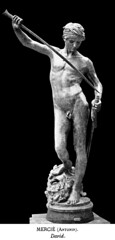 Marius Jean Antonin Mercié (1845-1916) - David (1873) front (ketrin1407) Tags: antoninmercié 19thcentury david goliath biblical statue sculpture bronze nude naked erotic sword engraving blackandwhite monochrome blackbackground