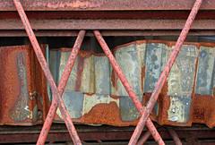 Rust Weave (Doris Burfind) Tags: rust blueandrust metal steel scrap junk junkyard weathered decay haltonhills georgetown armstrongave x abstract