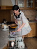 Housewife at work (blackietv) Tags: black white polka dots polkadots dress full skirt petticoat housewife apron vintage retro tgirl transvestite crossdresser crossdressing transgender kitchen