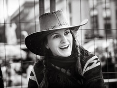 pretty.girl.with.hat (grizzleur) Tags: karneval olymplus omd olympusomdem10mkii omdstreetphotography bw mono monochrome blackandwhite street photography candid pretty beautiful beauty girl lady woman young cowboy cowgirl cute sweet smile teeth white shine hat dress costume olylove olympus