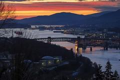 Ironworker's Memorial (Clayton Perry Photoworks) Tags: vancouver bc canada winter burnaby capitolhill explorebc explorecanada night lights sunset