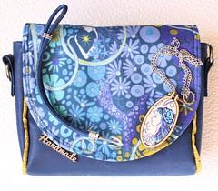 Small handbag with blue leather (Mara Creates) Tags: alisonglassfabrics blue embroidery bag