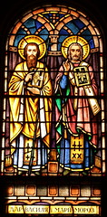 Sts. Cyril and Methodius Two Saints with Bibles SG (Jay Costello) Tags: stscyrilandmethodiusukrainiancatholicchurch stscyrilandmethodius ukraniancatholic ukrainian catholic church catholicchurch god worship religion stcatharines ontario on stcatharineson canada ca stainedglass king queen saint