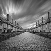 Vicars Close - Wells (~g@ry~ (clevedon-clarks)) Tags: monochrome blackwhite bw somerset wells longexposure 10stopnd sky vicars close cathedral street streetlights cobles