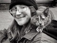 City Kitty (Ian Sane) Tags: ian sane images citykitty woman cat shoulder downtown portland oregon urban southwest 6th avenue morrison black white portrait street photography monochrome iphoneography phoneography iphone 8 plus snapseed