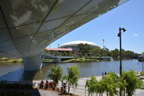 Riverbank footbridge leading to the Adelaide Oval, across the River Torrens, South Australia