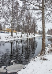 Osterbybruk, Sweden (sussexscorpio) Tags: 2018 february osterbybruk sussexscorpio sweden reflection reflections river snow stream trees water winter österbybruk nordic scandinavia östhammar tree ice frozen people