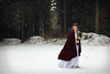 In Search of Kai (Ruby Hyde) Tags: red white snow snowing girl woman magical magic conceptual fineart fineartphotography cloak cape flowers roses blossoms ginger redhead forest tree trees woods