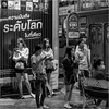 Bus stop (John Riper) Tags: johnriper street photography straatfotografie square vierkant bw black white zwartwit mono monochrome bangkok thailand candid john riper xt2 fujifilm people ladies girls men bus stop waiting night smart phone netflix xf18135