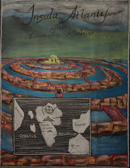 5th Grade: Ancient Cultures and History; Atlantis, after Athanasius Kircher (ArneKaiser) Tags: 5thgrade 5thgradefarewell boarddrawings mrkaisersclass pineforestschool waldorf waldorfjourney chalk chalkboard chalkdrawings