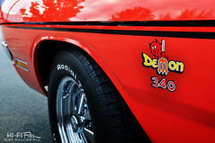Small Block Demon (Hi-Fi Fotos) Tags: dodge demon 340 vintage mopar red decal 1972 classiccar dart stripe nikon d5000 hififotos hallewell