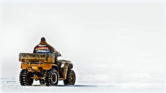 Whiteout driving 'On pure white'  - SOS theme. (Bob's Digital Eye) Tags: abstract atv bobsdigitaleye canon canonefs55250mmf456isstm flicker flickr fourwheeler frozenlake ice jan2018 snow t3i vehicle wheels winter winterinmn smileonsaturday onpurewhite
