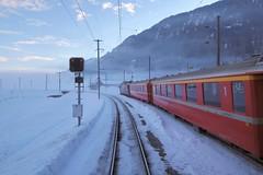 Castrisch - Rhaetian Railway (Kecko) Tags: 2018 kecko swiss switzerland schweiz suisse svizzera graubünden graubuenden gr surselva ilanz glion castrisch rhätischebahn rhaetian railway railroad bahn viafierretica rhb eisenbahn station bahnhof snow winter schnee zug train europe swissphoto geotagged geo:lat=46778400 geo:lon=9233750