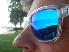 034/365: out to sea (shades of blue) (Michiko.Fujii) Tags: portraits outtosea eastcoast shades sunglasses blue upclose almostfaces profile onthebeach coastline ontheseashore bicycle reflections